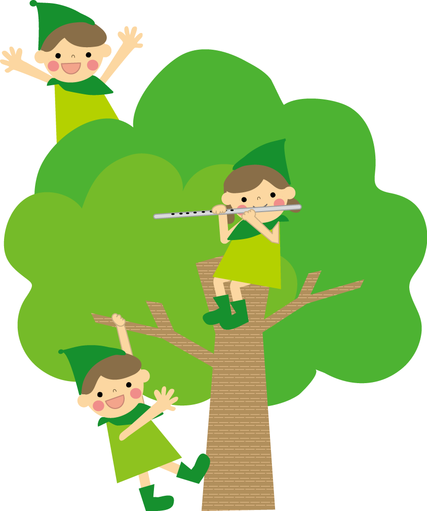 木と子供のイラスト 無料 フリー 素材